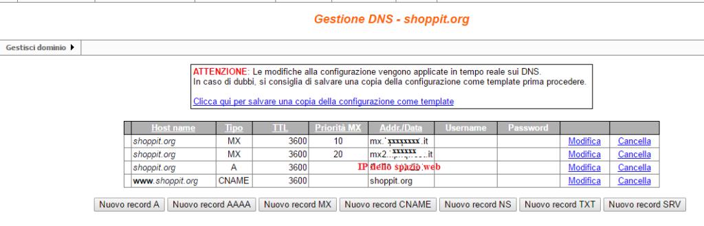 Configurazione del record DNS. Pannello di GiDiNet: https://www.gidinet.com/