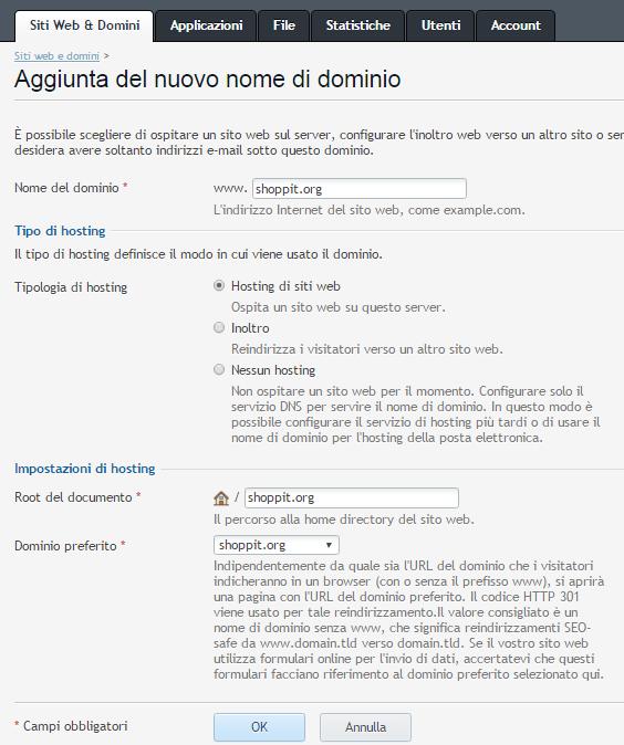 Fig. 4. Configurazione cartella del dominio