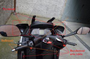 Deflettori laterali e paramani per convogliare aria calda